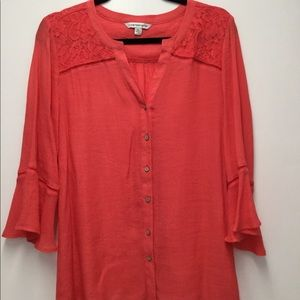 Coral Cotton Blouse w/ Bell Sleeves